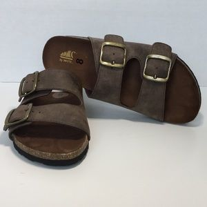 White Mountain Buckle Slide On Sandal